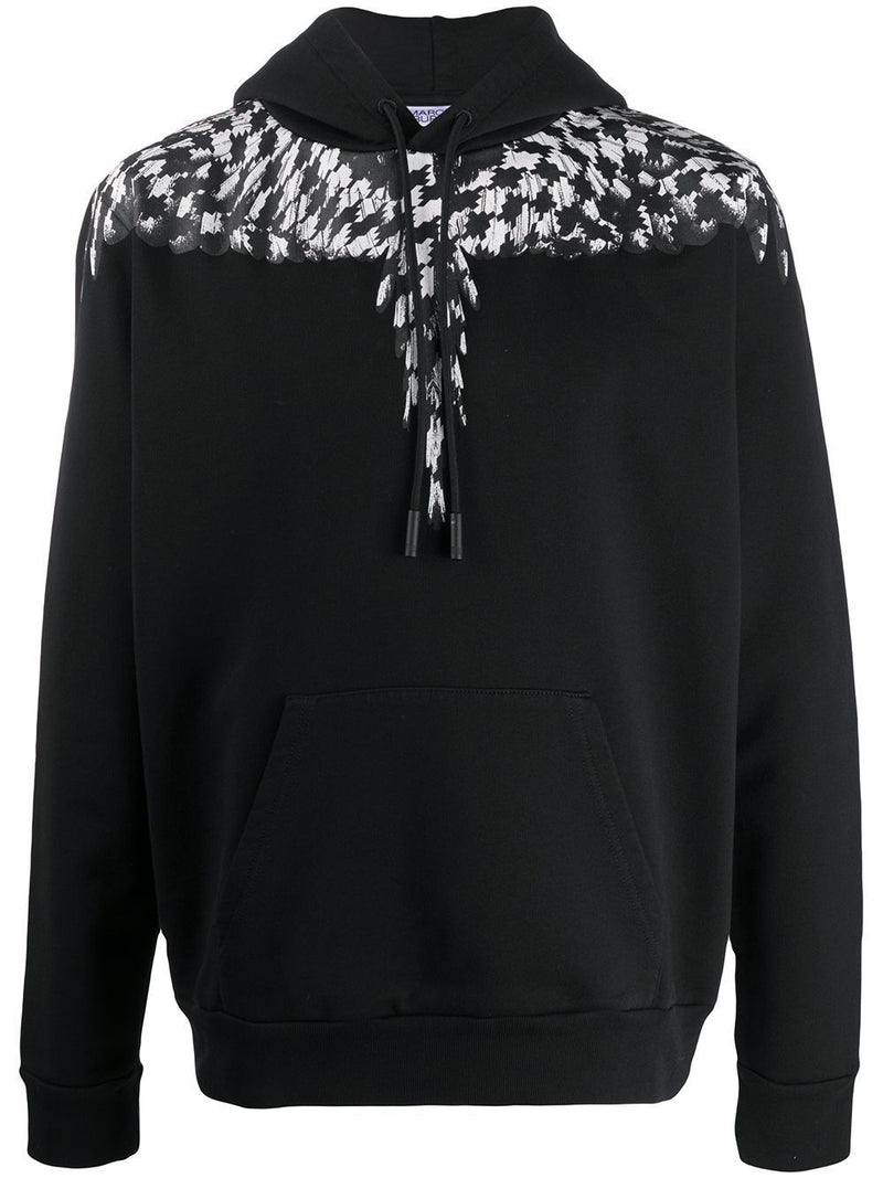 Marcelo Burlon Cross Pattern Wings Hoodie Black