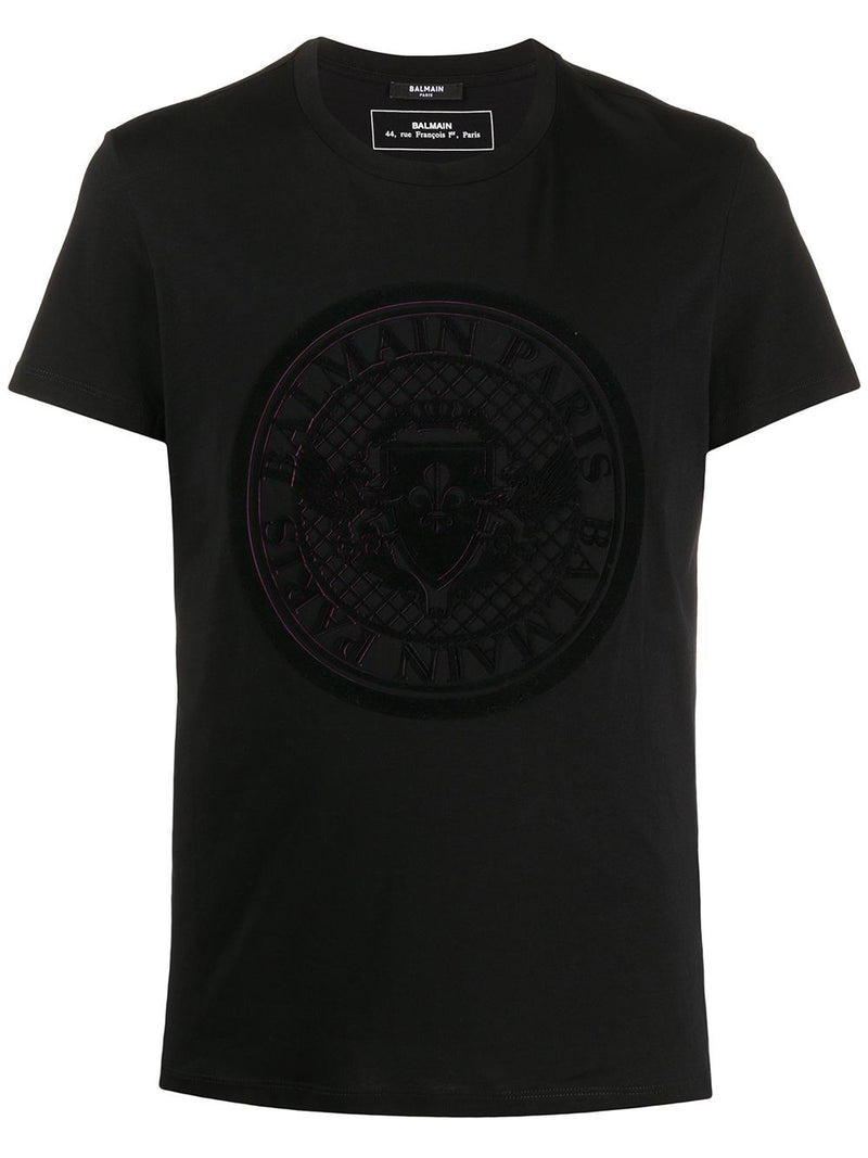BALMAIN medallion flock logo t-shirt black/fuchasia - Maison De Fashion