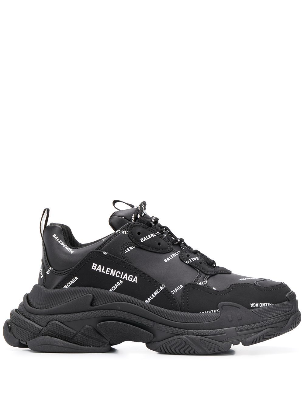 BALENCIAGA triple s all over logo sneakers black/white