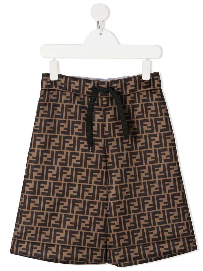 FENDI KIDS FF Logo Shorts Brown