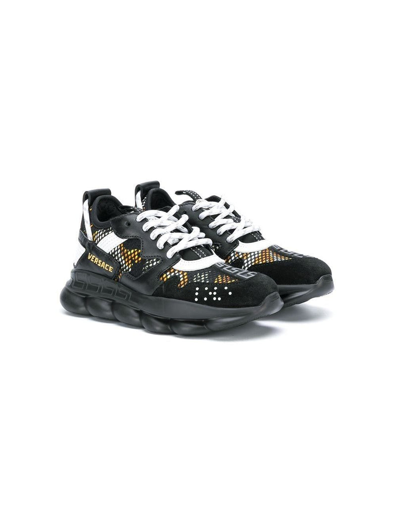 VERSACE Kids Chain Reaction Sneakers Black - Maison De Fashion