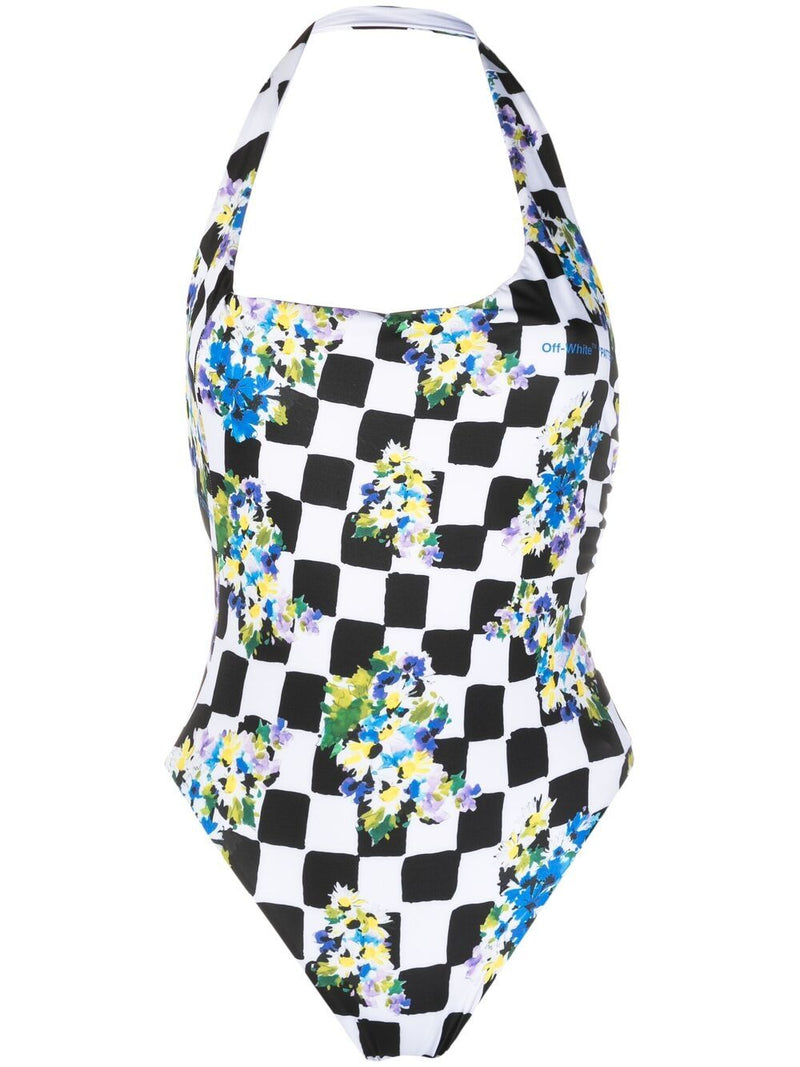 OFF-WHITE WOMEN One-shoulder diamond check print swimsuit