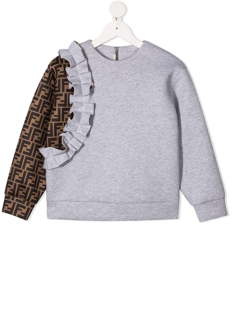 FENDI KIDS Ruffled FF-Logo Sleeve Sweatshirt Grey