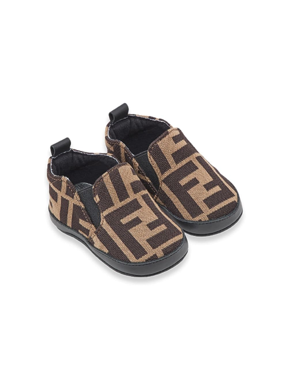 FENDI KIDS infant FF slip-on sneakers brown