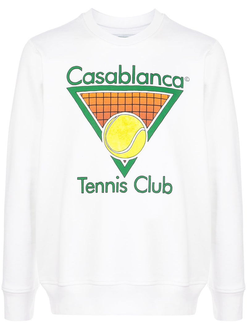 CASABLANCA tennis club logo sweatshirt white