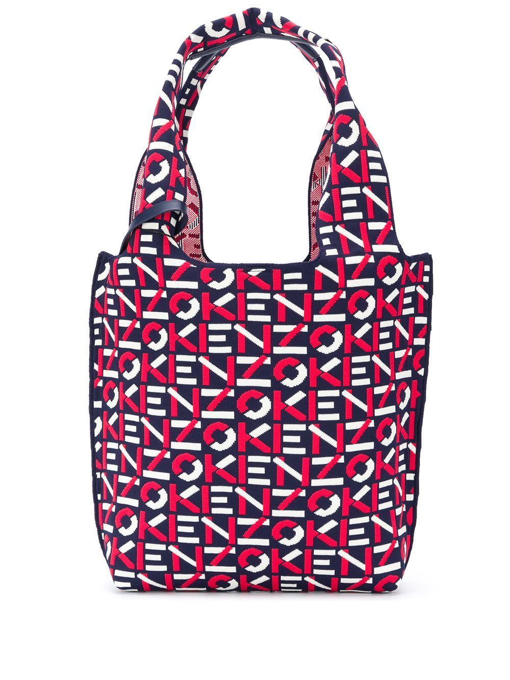 KENZO WOMEN All Over Logo Tote Bag Navy