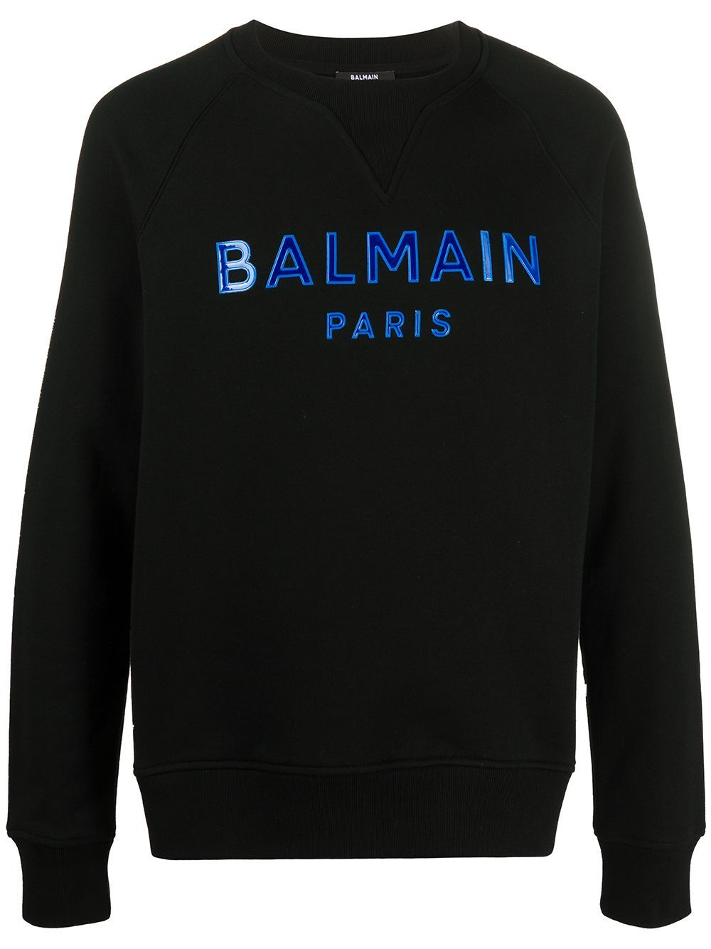 BALMAIN gel logo sweatshirt black/blue - Maison De Fashion