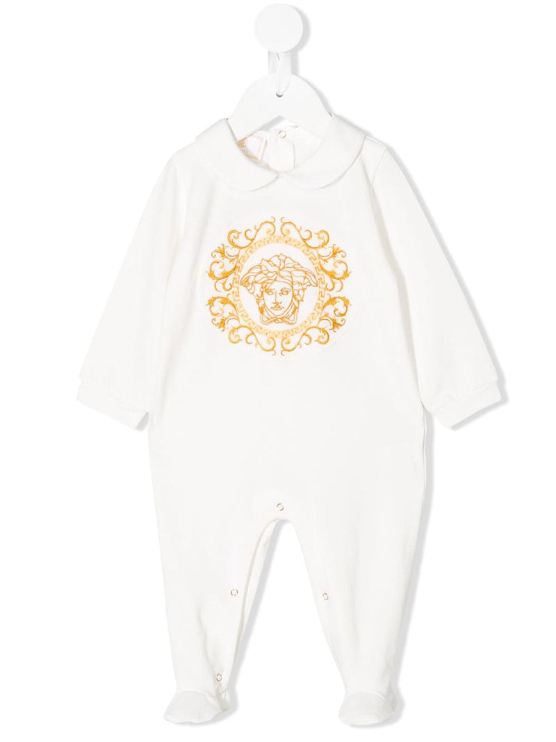VERSACE KIDS long sleeve medusa logo bodysuit white