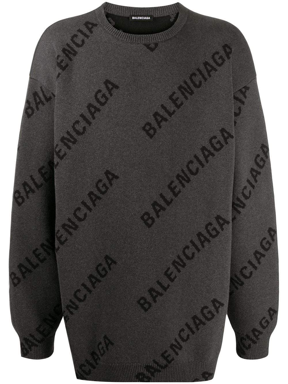 BALENCIAGA All Over Logo Knitted Sweatshirt Grey - Maison De Fashion