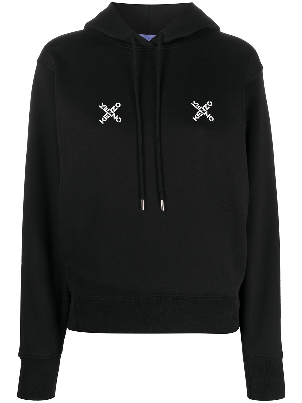 KENZO WOMEN Cross Logo Hoodie Black