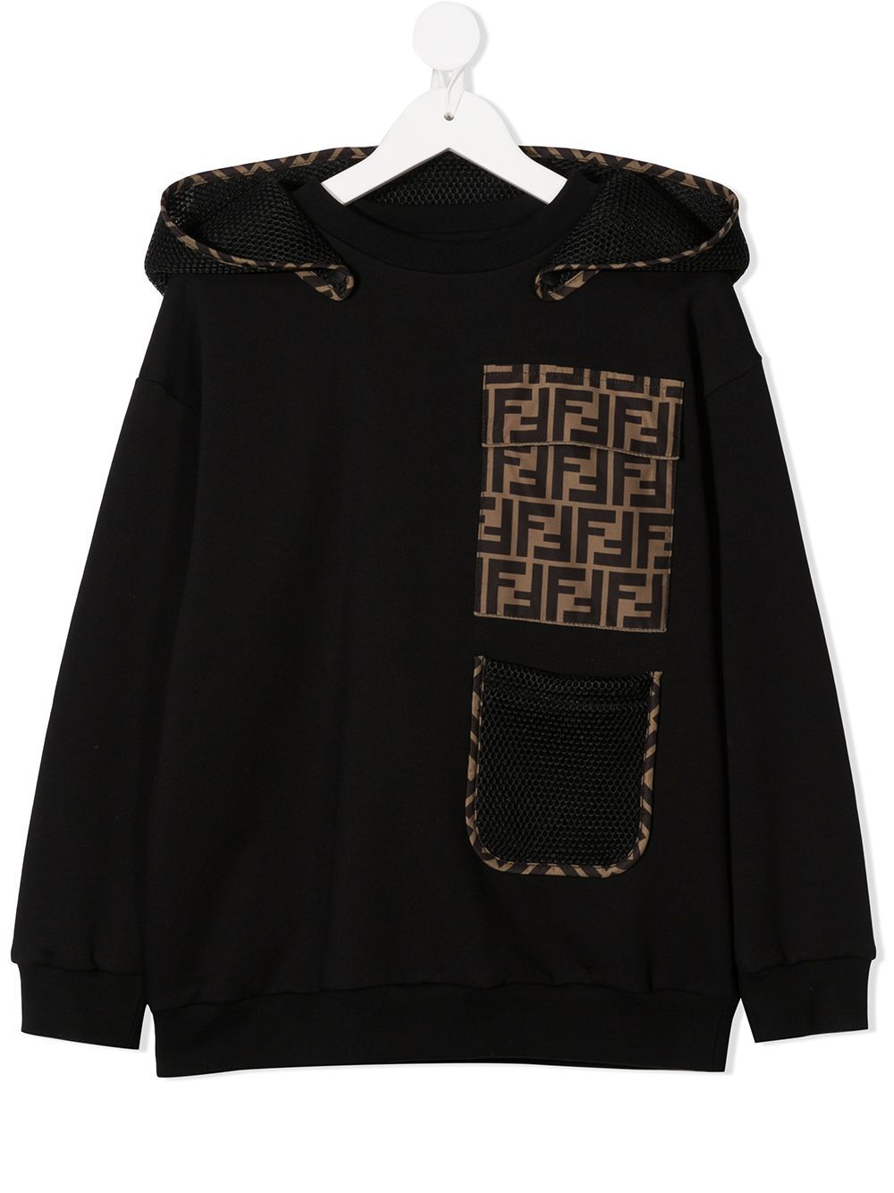 Fendi Kids FF Motif Pocket Hooded Sweatshirt