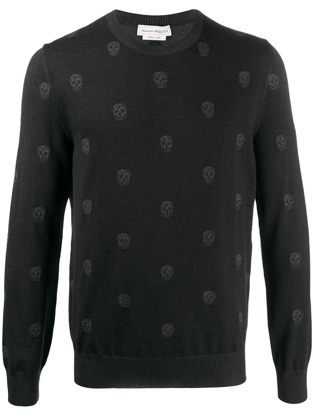 ALEXANDER MCQUEEN multiple skulls jumper black - Maison De Fashion