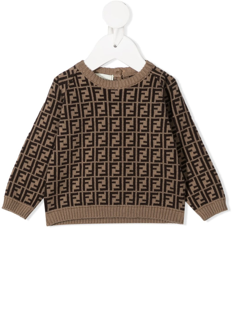 FENDI Baby Monogram Knitted Jumper Brown