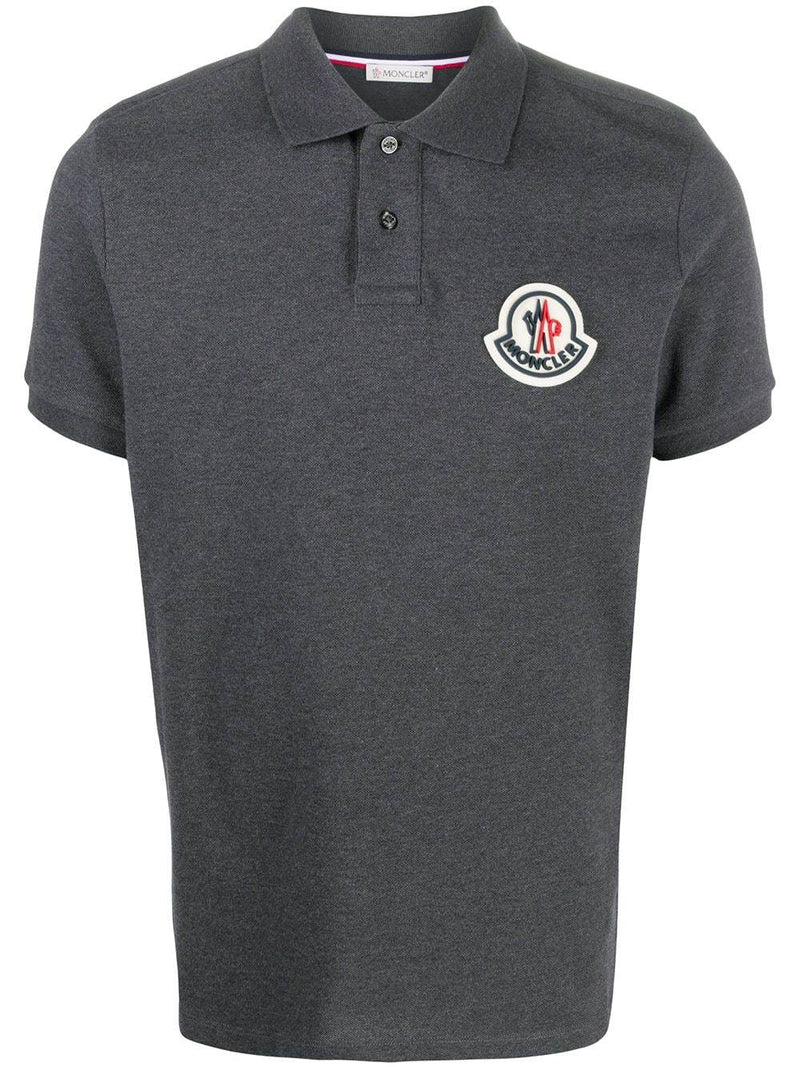 MONCLER Rubber Logo Polo Shirt Grey