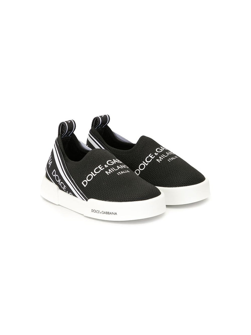 DOLCE & GABBANA BABY Logo print slip-on sneakers Black