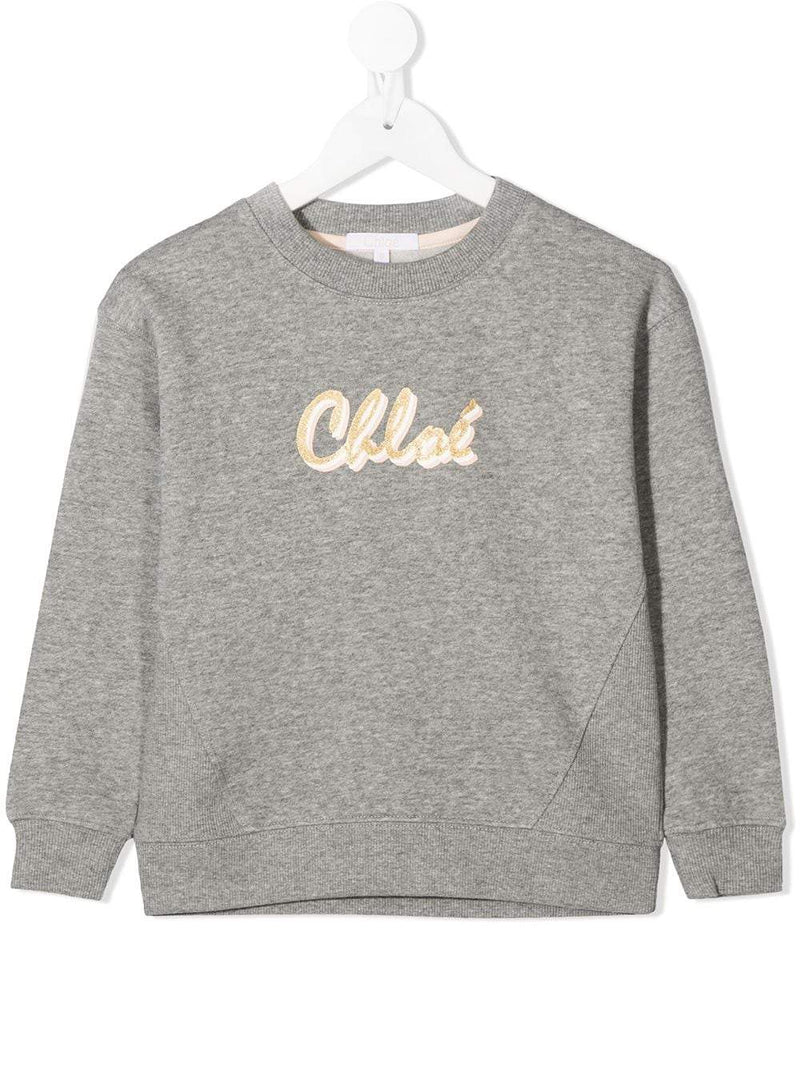 CHLOÉ KIDS Script Logo Sweatshirt Grey/Gold - Maison De Fashion
