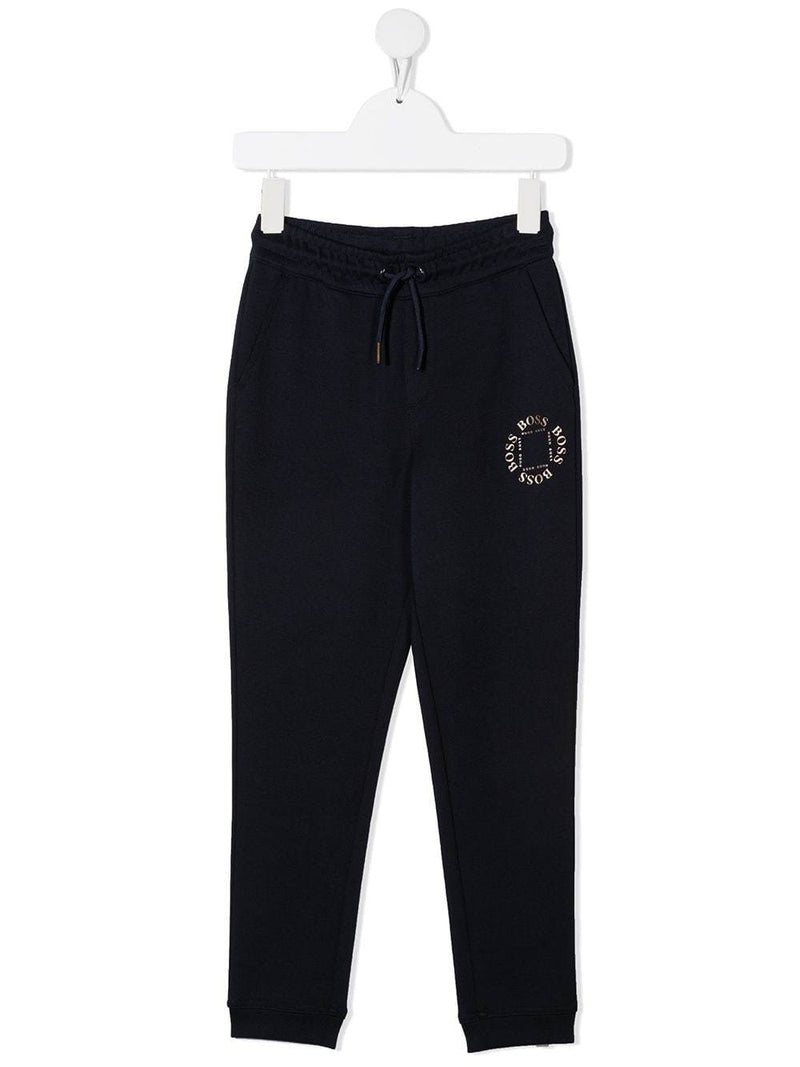 BOSS KIDS Logo tracksuit bottoms Navy
