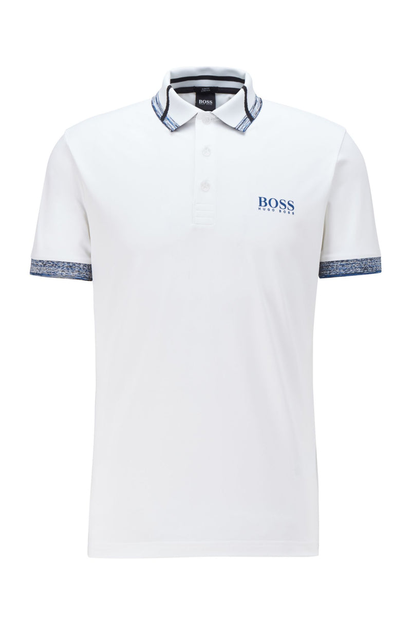BOSS Logo Polo Shirt White/Blue