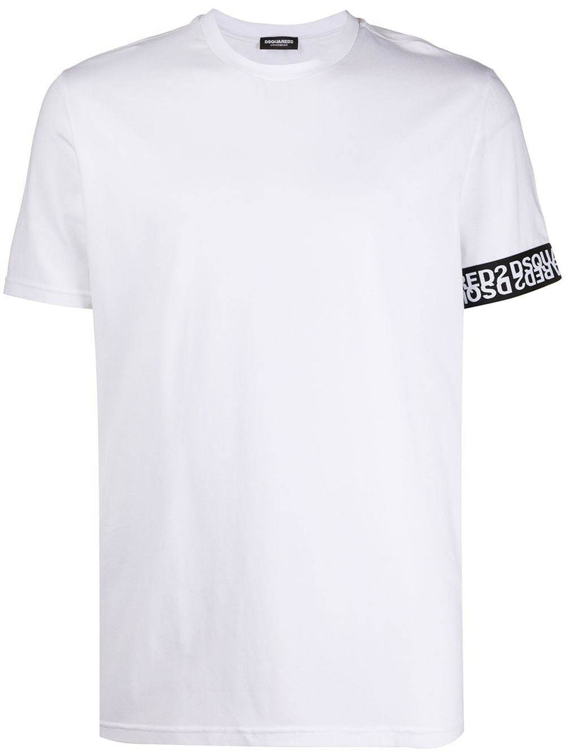 DSQUARED2 mirrored logo sleeve print t-shirt white