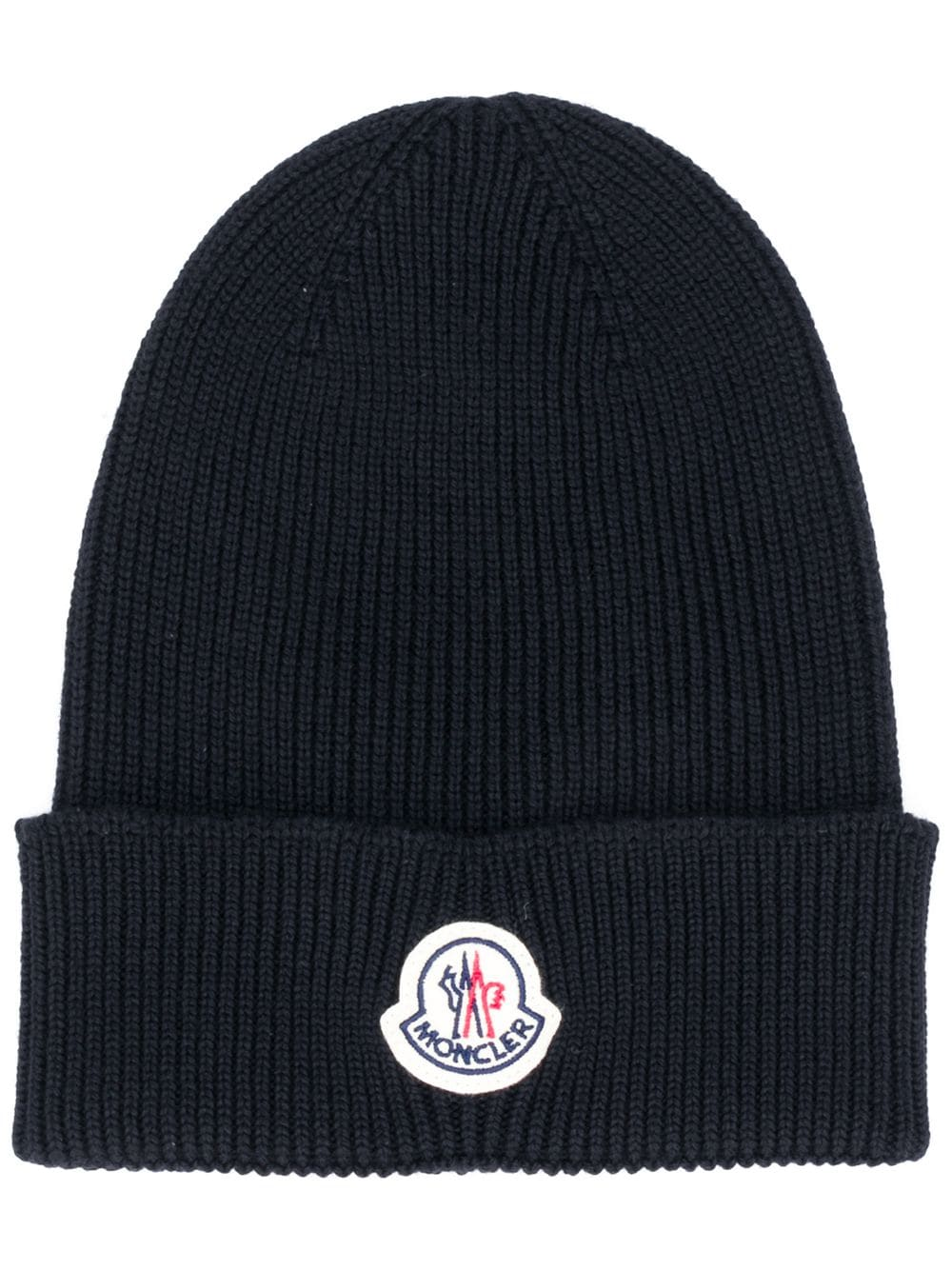 MONCLER Logo Patch Beanie Black