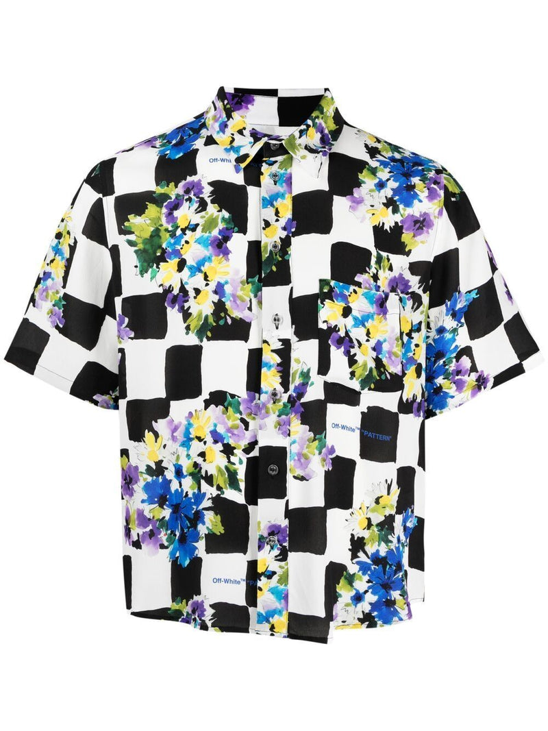 OFF-WHITE Floral Print Check Shirt