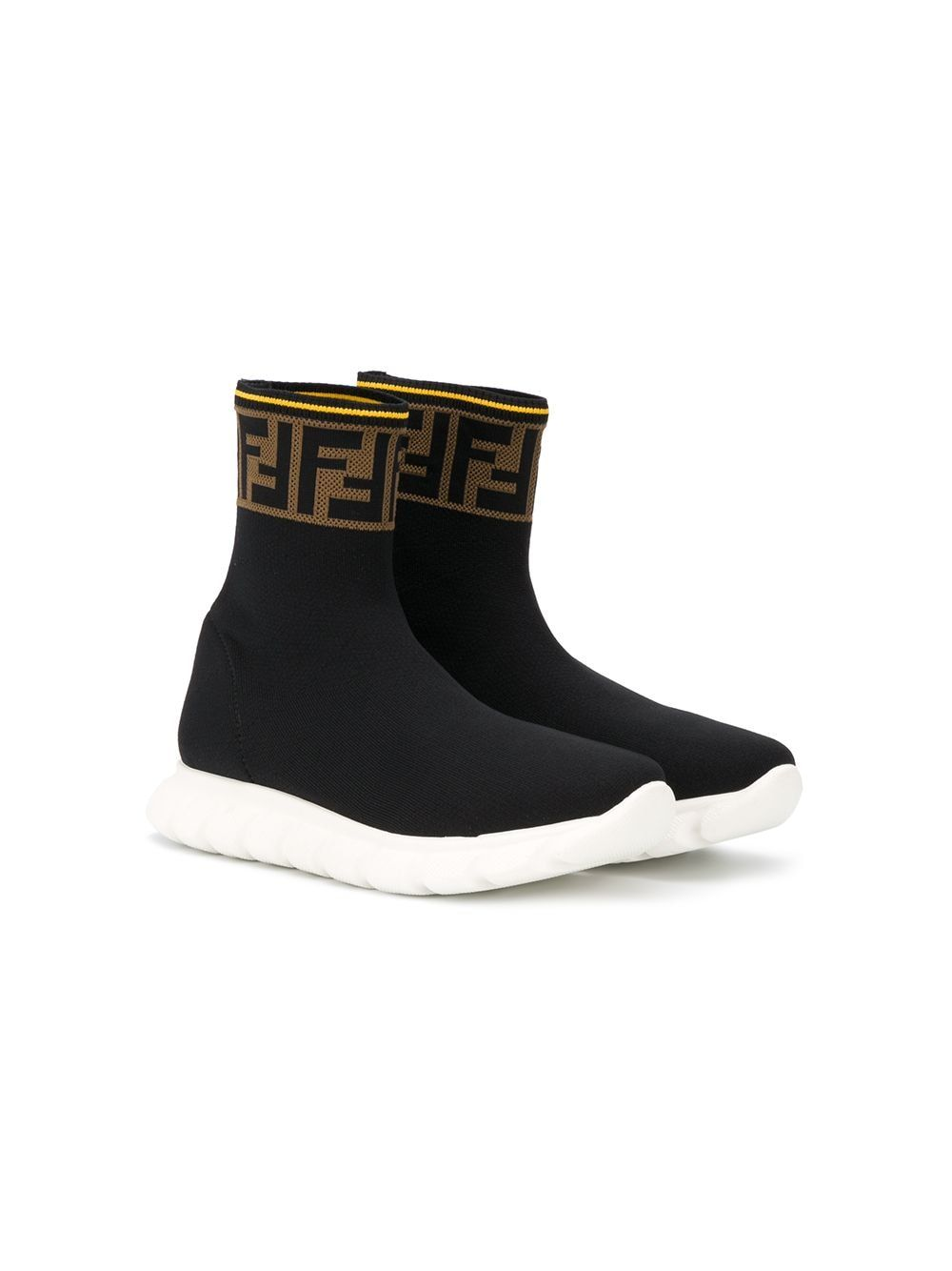 FENDI KIDS FF Logo Sock Sneakers Black