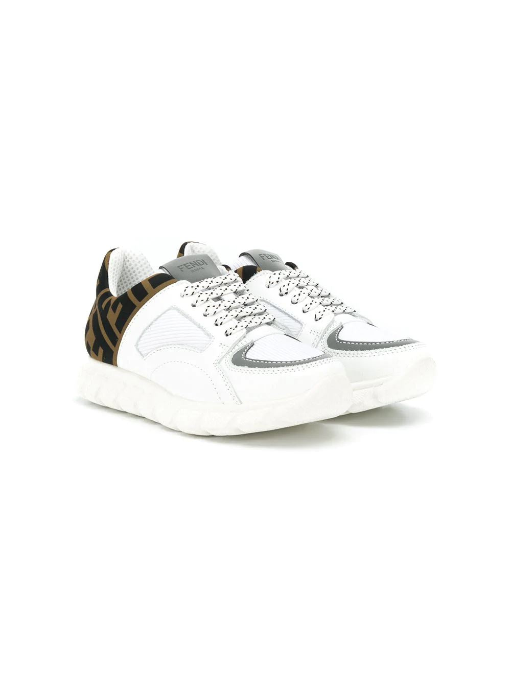 FENDI KIDS logo low-top sneakers white - Maison De Fashion