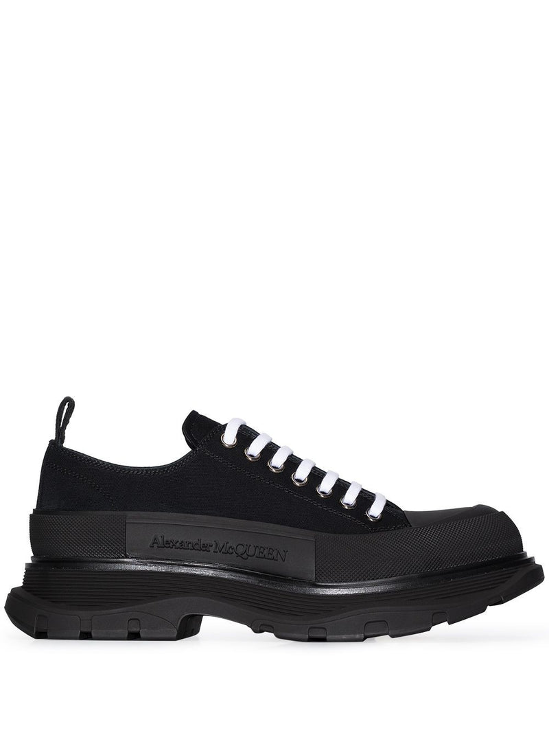 ALEXANDER MCQUEEN Tread Slick Lace-up Sneakers Black - Maison De Fashion