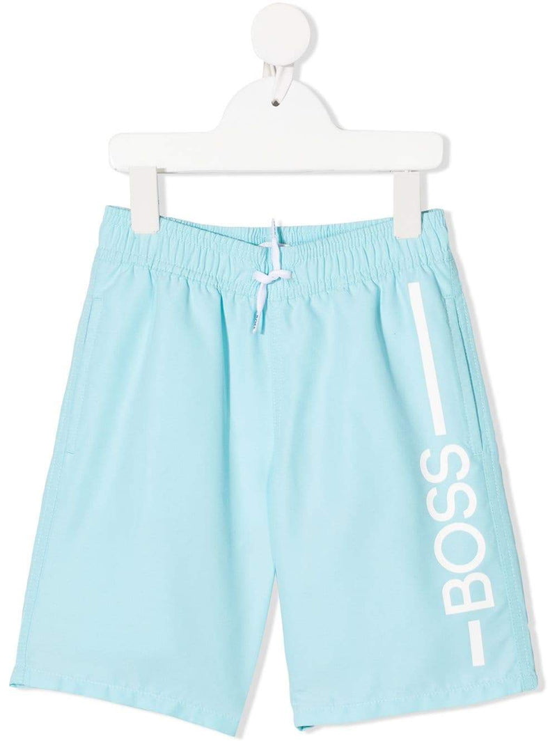 BOSS KIDS Logo print swim trunks Blue