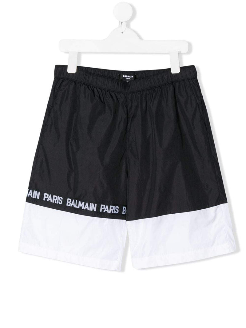BALMAIN KIDS striped logo printed swim shorts black/white