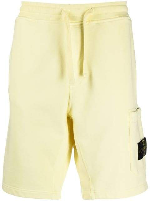 STONE ISLAND Logo Patch Shorts Yellow - Maison De Fashion