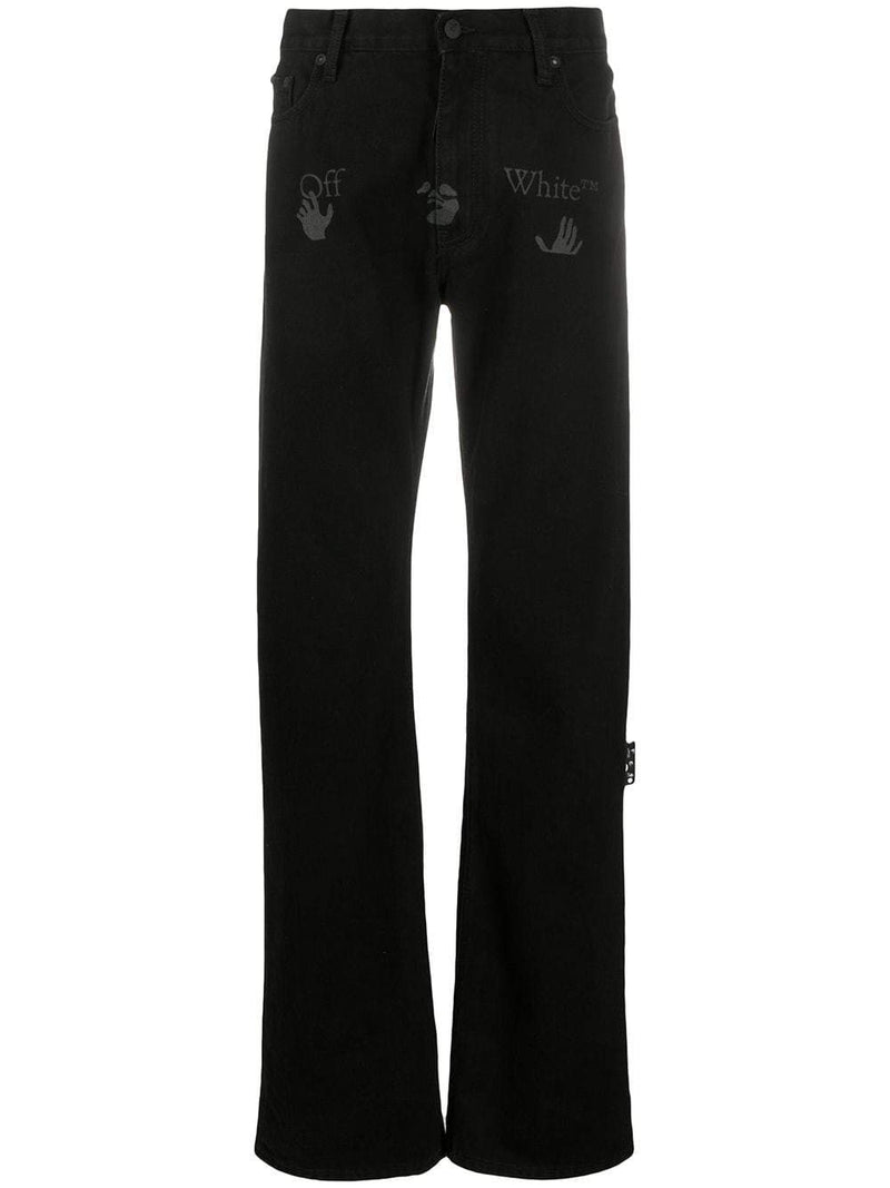 OFF-WHITE logo print straight-leg jeans black