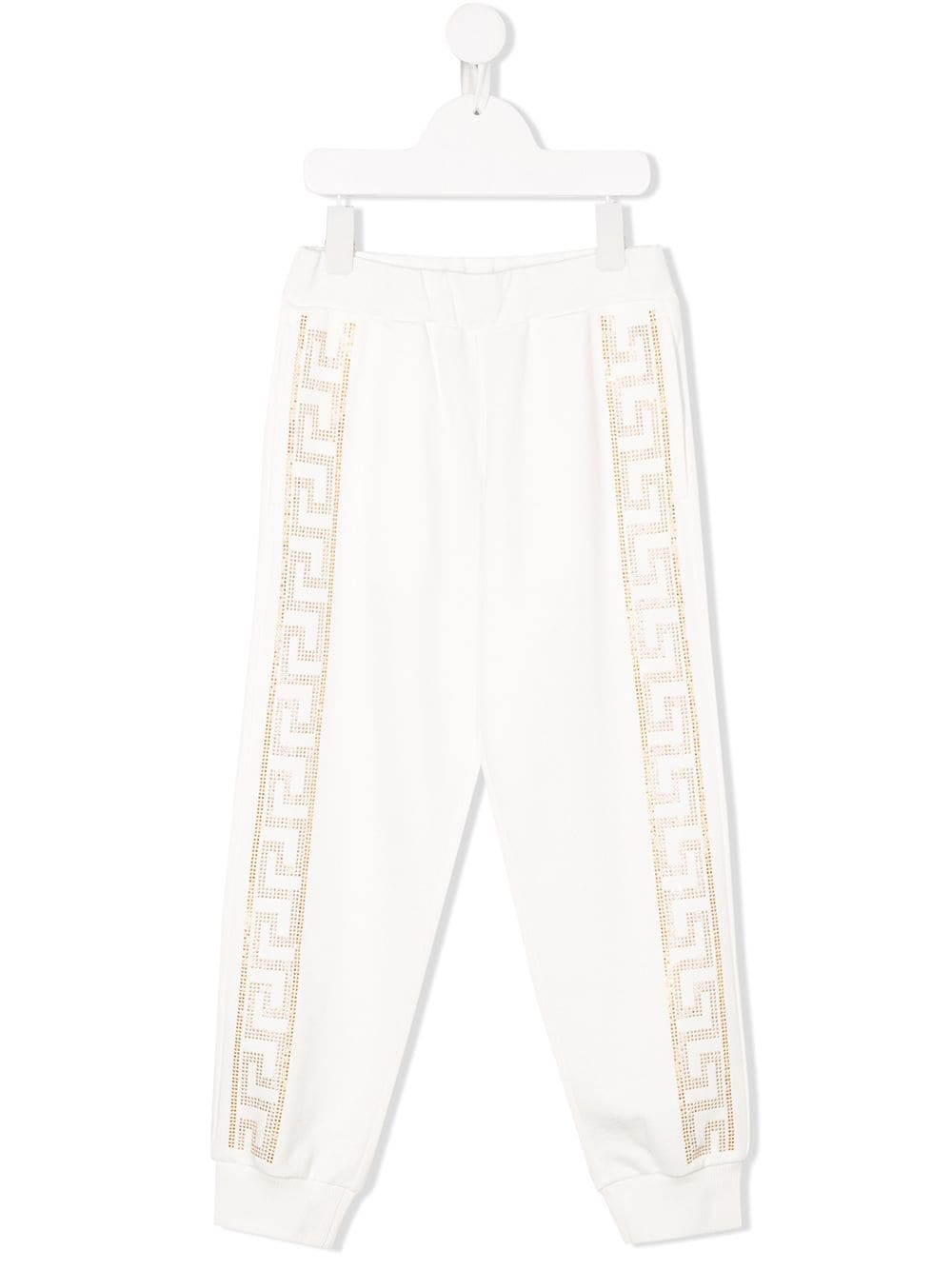 VERSACE KIDS rhinestone pattern sweatpants white