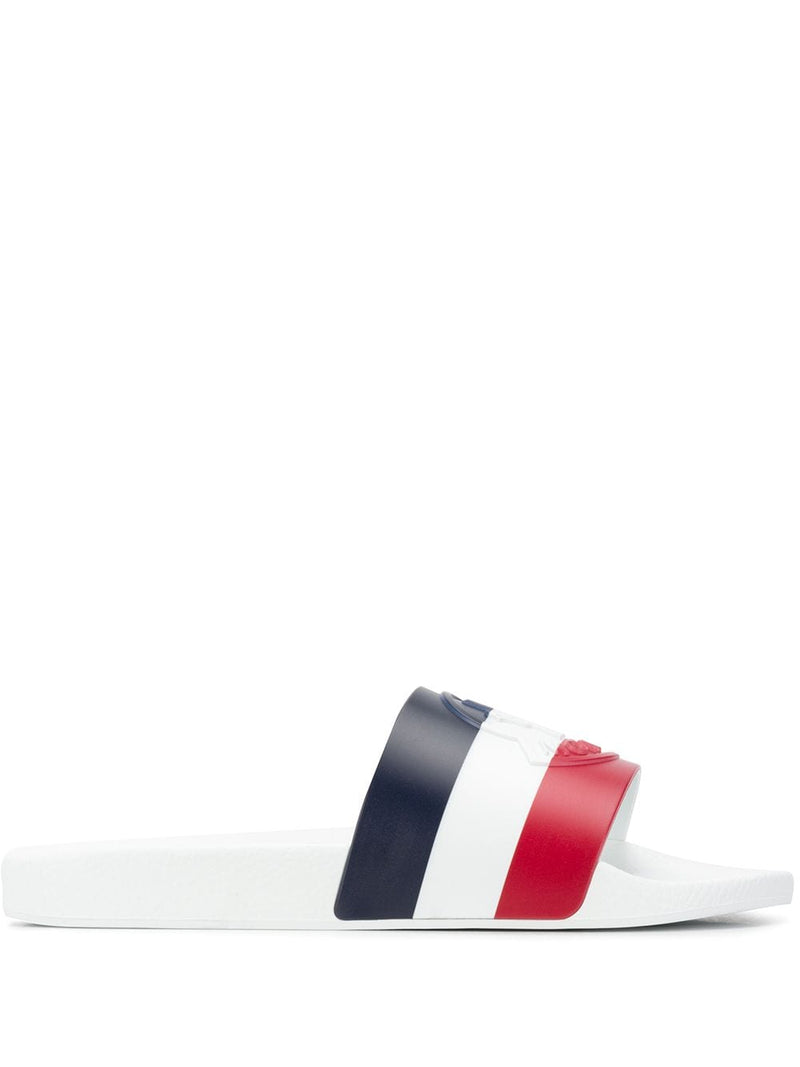 MONCLER BASILE striped slip on slides white