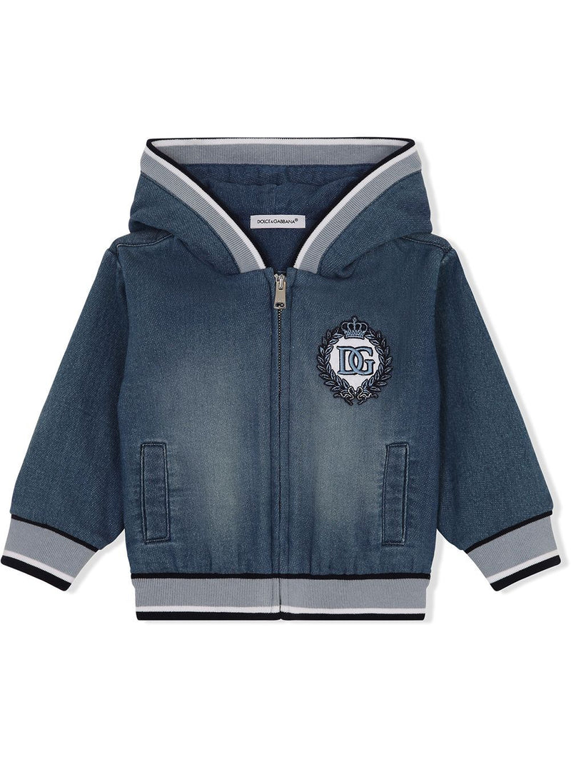 DOLCE & GABBANA BABY Logo-embroidered denim hoodie Blue