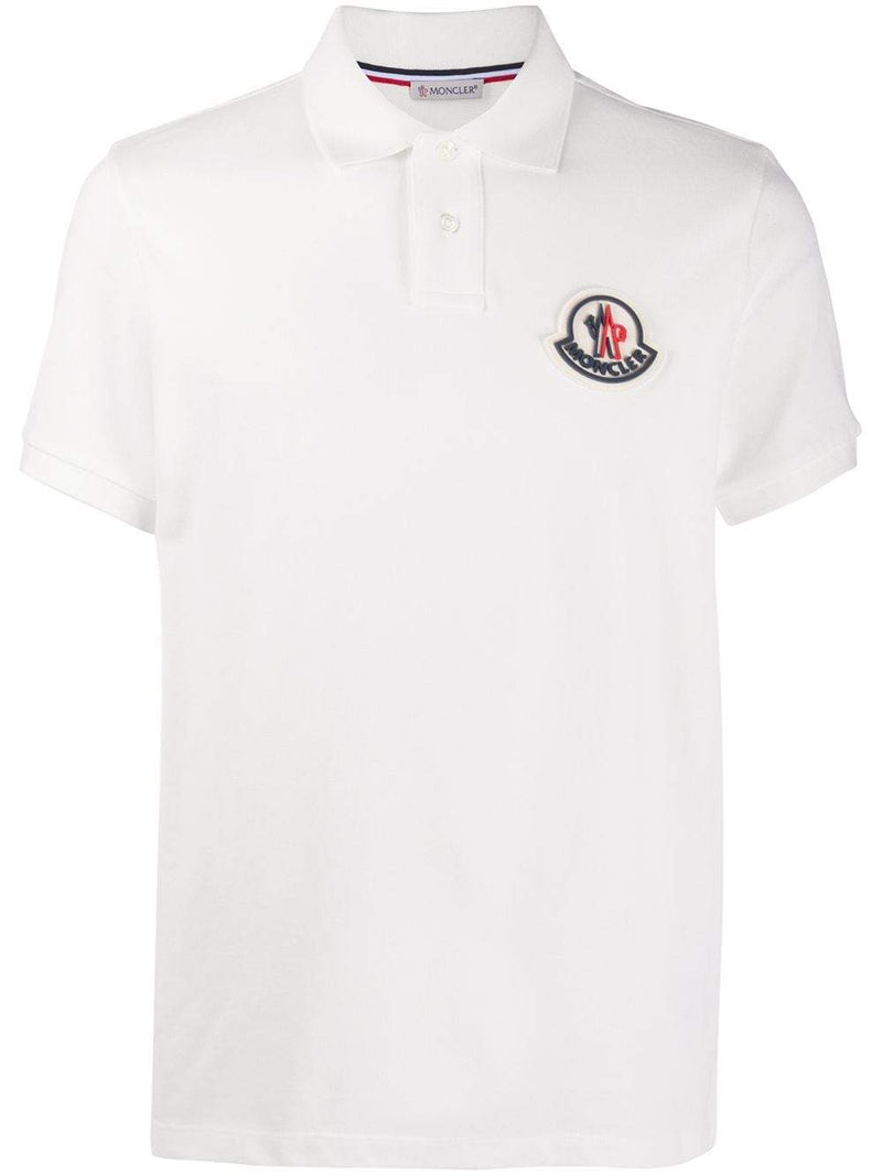 MONCLER Rubber Logo Polo Shirt White - Maison De Fashion