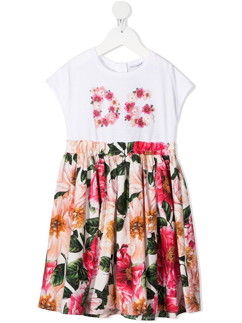 DOLCE & GABBANA KIDS Floral-print dress White/Pink