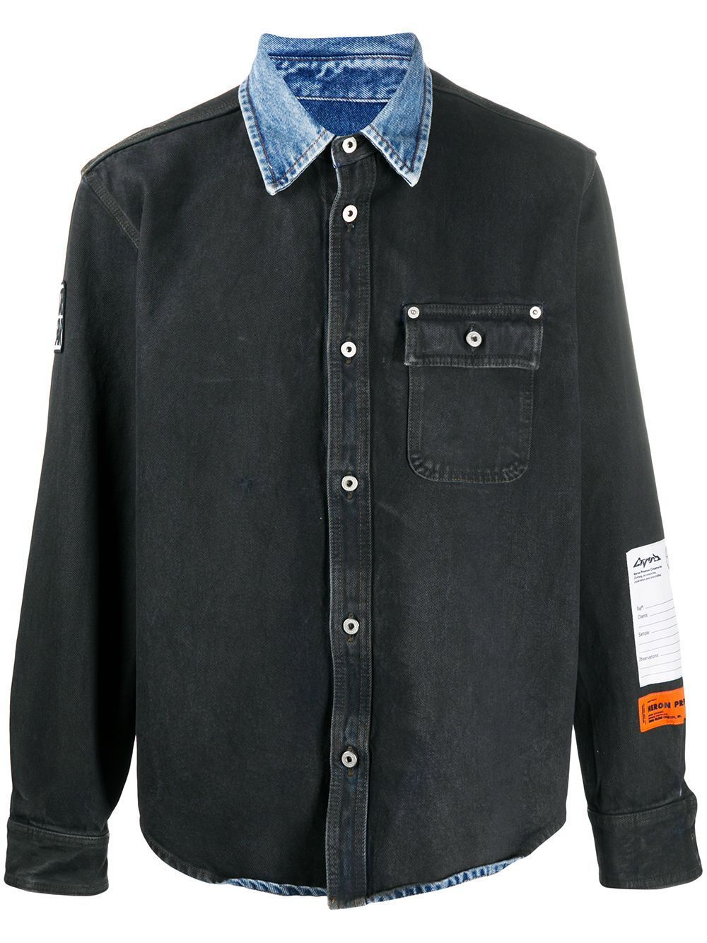 HERON PRESTON Spray Denim Shirt Black - Maison De Fashion
