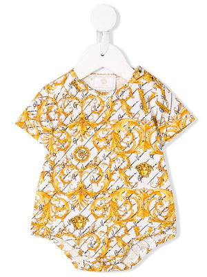 VERSACE KIDS baroque print top white/gold