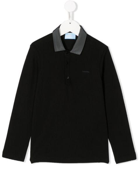 LANVIN ENFANT Embroidered logo polo shirt
