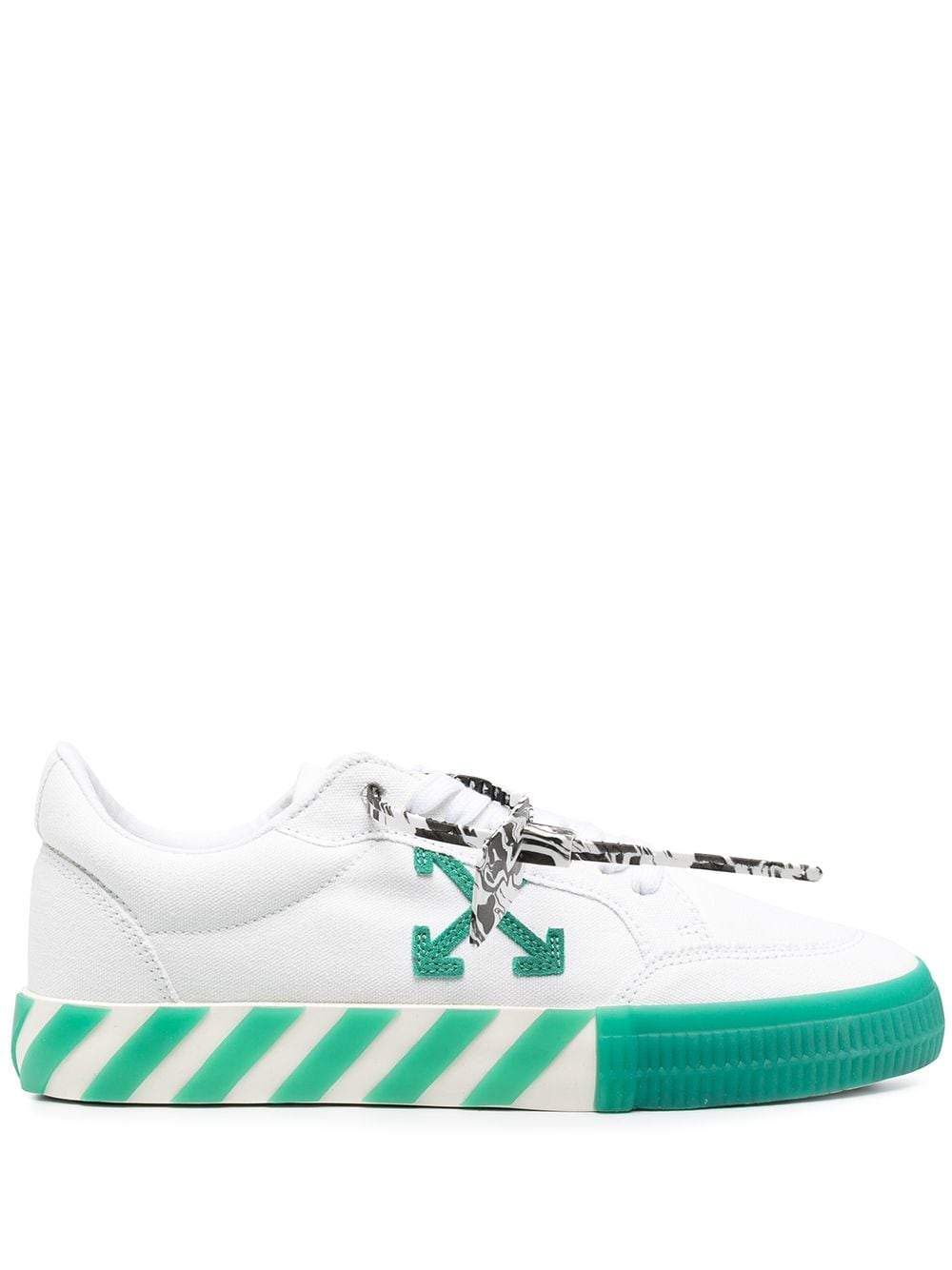 OFF-WHITE Low Vulcanized Canvas Sneakers White/Green