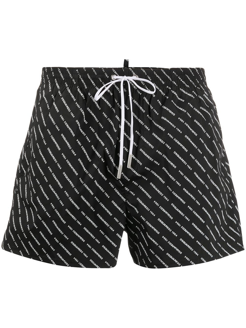 DSQUARED2 all over logo print swim shorts black/white