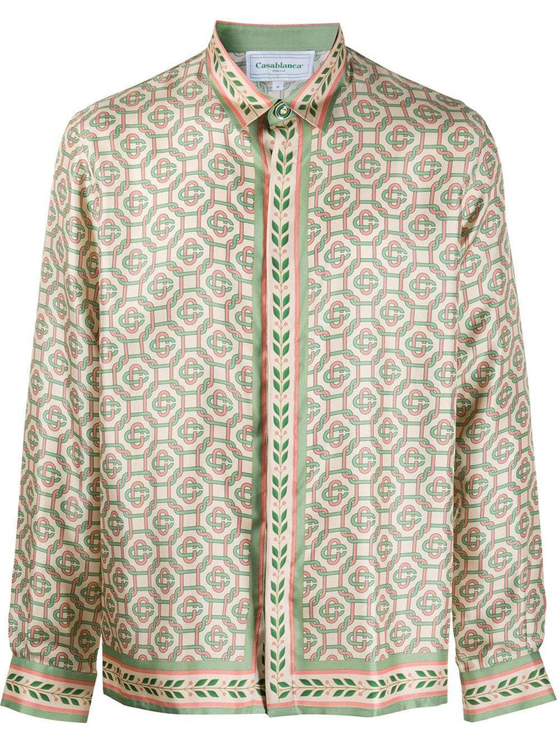 CASABLANCA Printed Silk Laurel Monogram Shirt