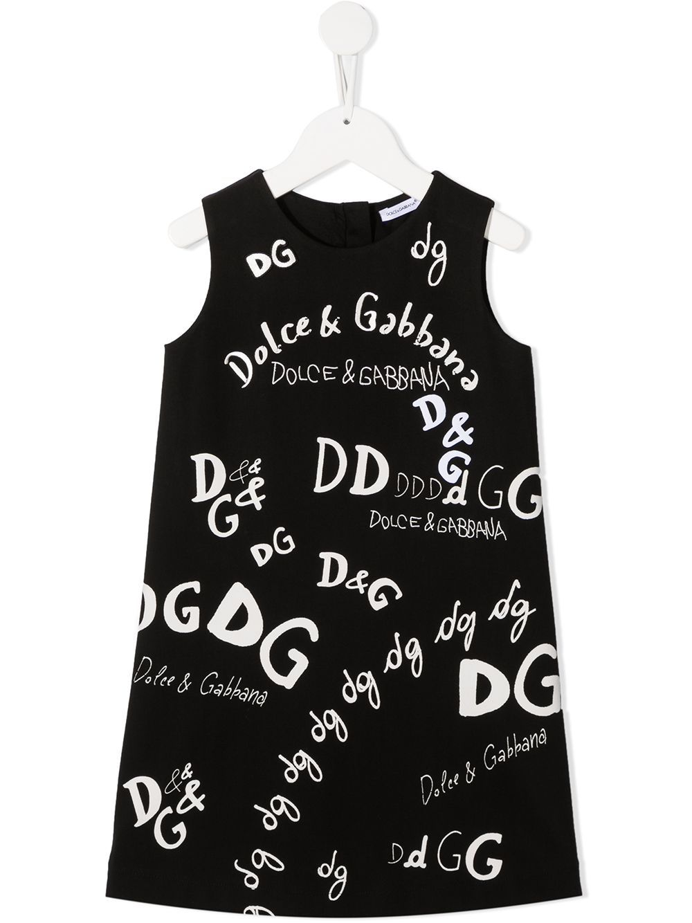 DOLCE & GABBANA KIDS All Over Logo Dress Black - Maison De Fashion