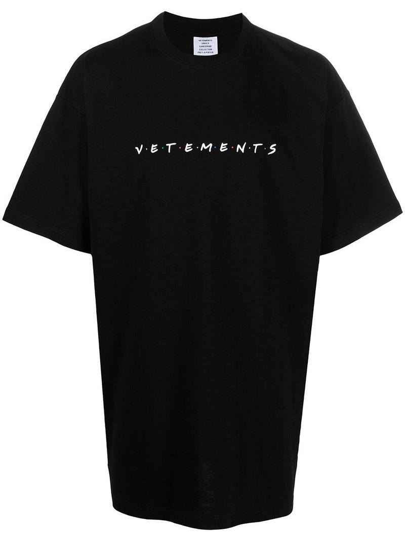 VETEMENTS Friendly Logo-Embroidered T-shirt Black - Maison De Fashion