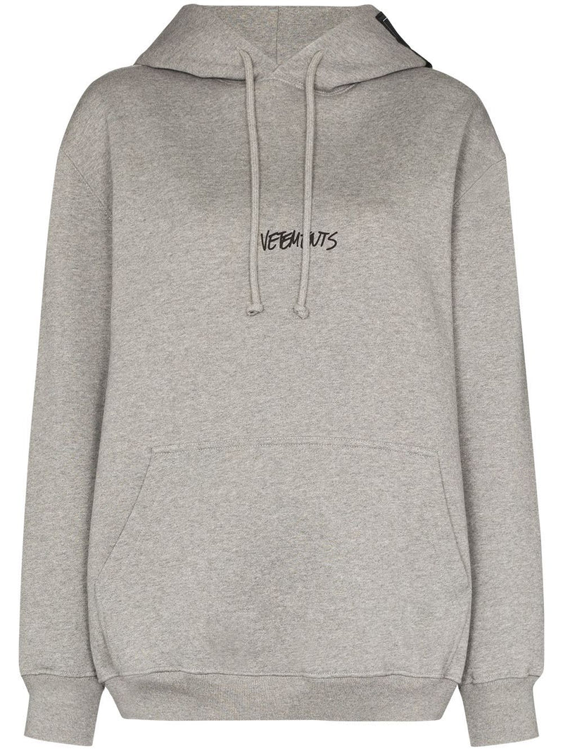 VETEMENTS Written Logo Hoodie Grey