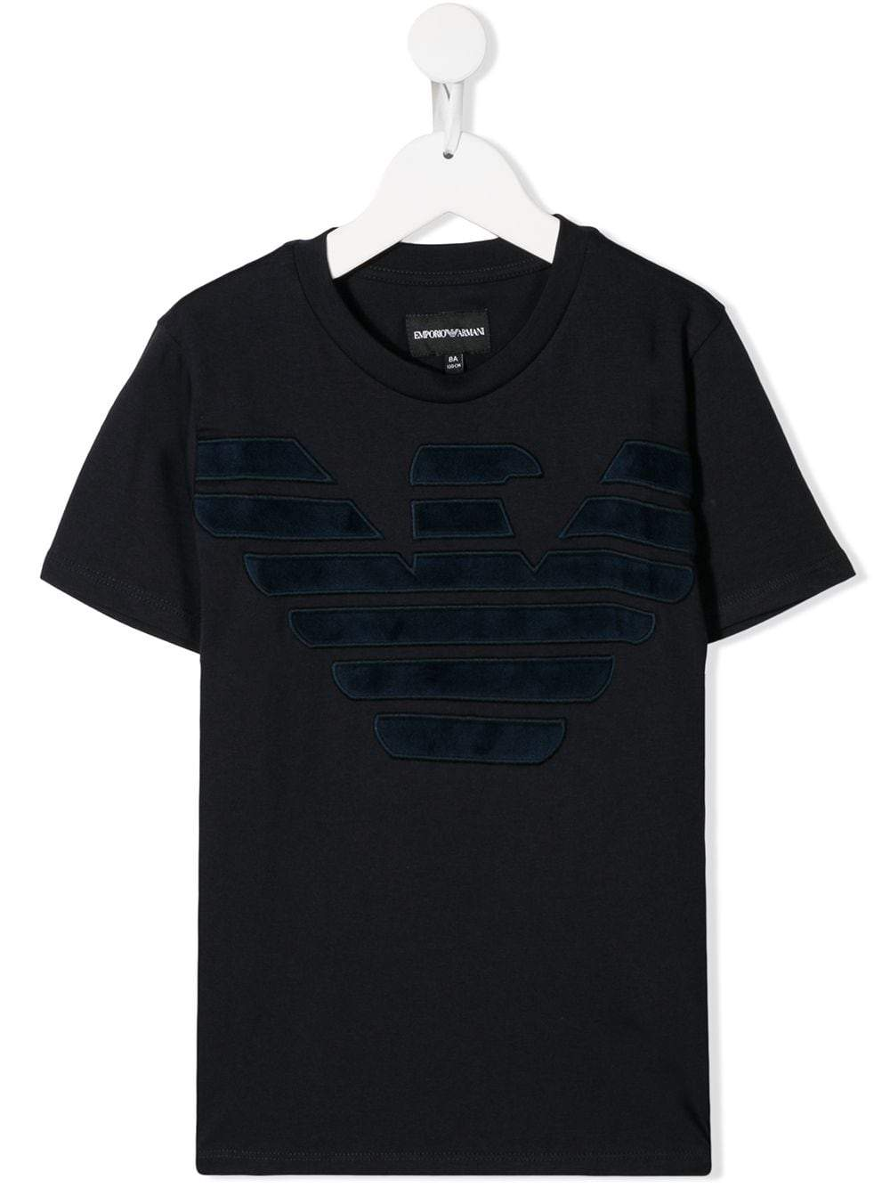 Emporio Armani Kids textured logo embroidered T-shirt - Maison De Fashion
