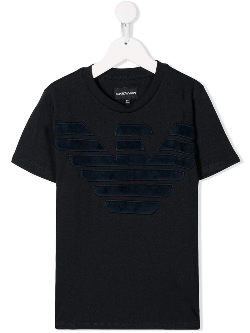 Emporio Armani Kids textured logo embroidered T-shirt