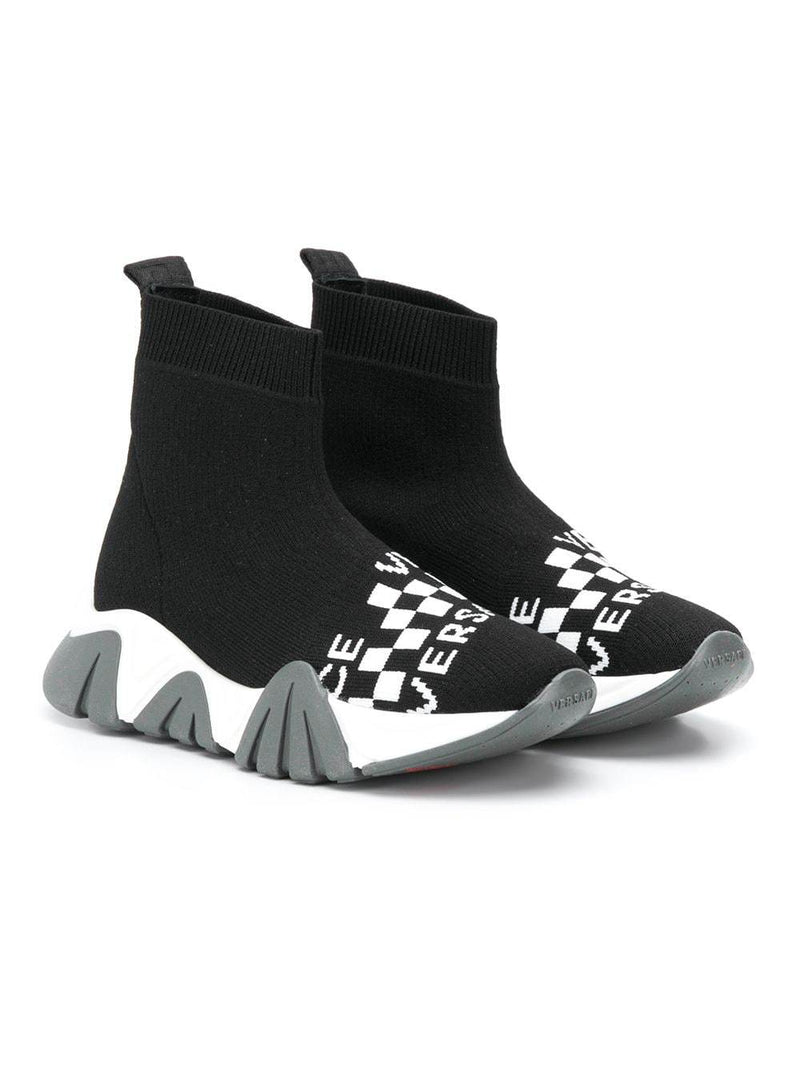 VERSACE Kids Logo Knit Sneakers Black - Maison De Fashion
