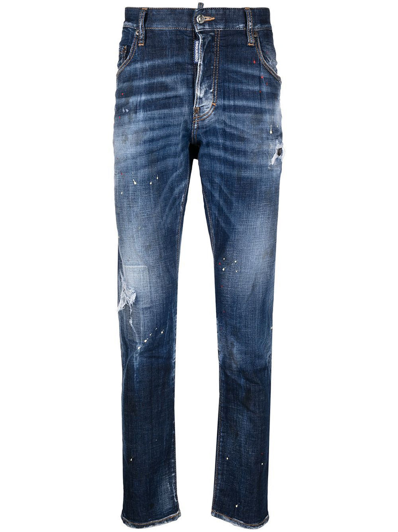 DSQUARED2 Ripped Leg 5 Pocket Jeans Blue